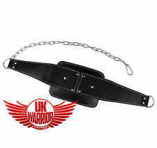 UK Warrior Leather Dipping Belt Body Building Peso Dip Sollevamento Catena
