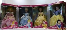 "Disney 16"" Porcelain Brass Key Doll Set 2002 Belle Aurora Cinderella Snow White"