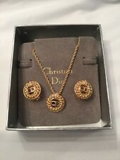 Vintage Christian Dior Gold Costume Jewelry Clip On Earrings Necklace Set BNIB