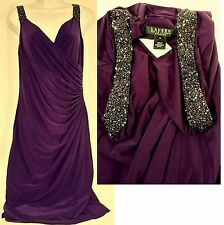 Lauren Ralph Lauren Embellished Strap Matte Jersey Purple Dress (size: 10) NWT