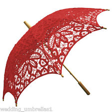 Willow Tree RED Battenburg Lace Bridal Wedding Sun Parasol Umbrella