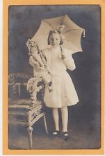 Studio Real Photo Postcard RPPC - Girl with Umbrella Doll and Rattan Char