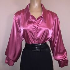 "1X LIQUID SATIN Shiny ROSY PINK Blouse Vtg Shirt Top 48"" Bust Plus Size 16W XL"