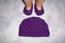Purple Hand Crochet Beanie Hat And Crochet Shoes For The American Girl Doll