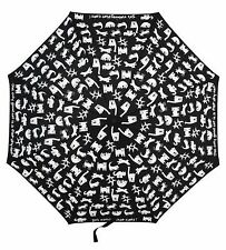 """Flat Cats"" Black Folding Cat Umbrella from Shelta"