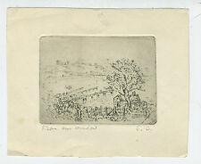 """1920s Pencil Signed Etching of Landscape w/ Tree & Houses """" From our Window """""""