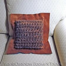 One of Kind - Exquisite Handcrafted 2-Tone Suede, Leather, Mahogany Mink Pillow