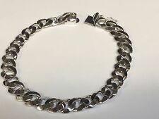 "14kt solid WHITE gold handmade Curb Link mens bracelet 8"" 25 Grams 8.5 MM"
