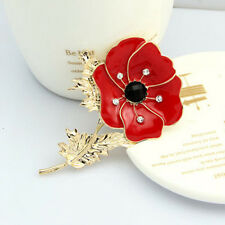 Fashion Red Remembrance Poppy Pin Brooch Crystal Badge Gold Flower Jewelry Gift