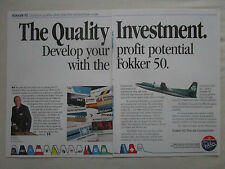 11/1989 PUB FOKKER AIRCRAFT FOKKER 50 AER LINGUS COMMUTER RAY WILSON ORIGINAL AD