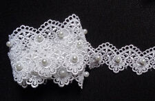 1 1/4 inch wide ivory Lace  Trim with pearl price for 1 yard