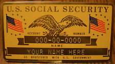 Metal Social Security ID Card Flags - Gold Color - Custom Engraved - L