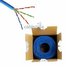 CAT5E 1000FT UTP SOLID Blue NETWORK ETHERNET CABLE CAT5 BULK WIRE RJ45 LAN