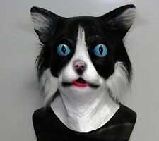 Black & White Latex Pussy Cat Mask With Fur Animal Fancy Dress Stag Party Feline