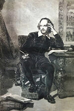 Portrait of Shakspeare DRAMATIST THEATER 1869 Antique Print Matted and STORY