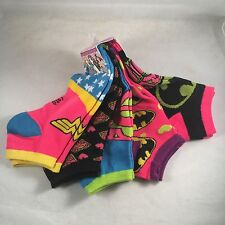 New 5 Pair DC Comics Batman Womens Ankle socks Shoe size 4-10 Gift Superman