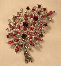 Gorgeous Ruby Red & Burgundy Curved Openwork Silvertone Bouquet Brooch Pin
