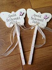 Personalised Butterfly Wand FlowerGirl Wedding Bridesmaid Gift Thank You Present
