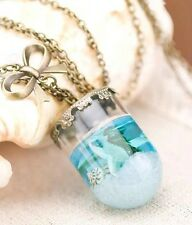 Mermaid Tears Necklace Jewelry Glass Cone Ocean Shell Glass Vial Charm US SELLER