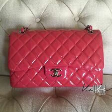 Authentic CHANEL 2.55 Classic Double Flap Jumbo In Patent Fuchsia Pink Leather