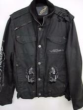 Ed Hardy by Christian Audigier Mens Zip up Embroider Black Jacket Size XL