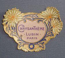 ETIQUETTE DE PARFUM CHRYSANTHÈME GAUFREE DOREE LUBIN PARIS OLD LABEL PERFUME