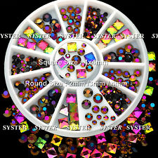 Nail Art Decoration Square Round Multicolor Crystal Glass Rhinestones #SB-133