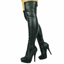 Sexy Black Red Over The Knee Thigh High Heel Stiletto Platform Stretchy Boots