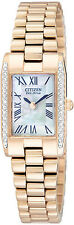 Ladies Citizen Eco-Drive MOP Dial Swarovski Crystal Silhouette Watch EW9813-50D