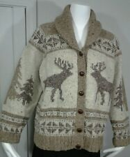 Ralph Lauren Reindeer Sweater Exclusinve Hand Knit Wool Shawl Collar Womens SZ L
