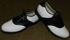Womens Mizuno MST 9827 Player Golf Shoes Sz 8.5 White Black Saddle Loafers Spike
