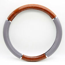 """15"""" PVC Leather Gray Brown Auto Car Wood Grain Steering Wheel Cover Universal"""