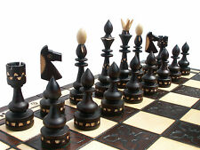 ''INDIAN'' WOODEN CHESS SET 54x54cm! BEAUTIFUL CRAFTED CHESSBOARD & CHESSMEN !!!