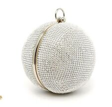 new ALDO party sparkly metallic Round Box Clutch with Embellishment (C192)