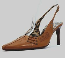 DOLCE & GABBANA Brown LEATHER High Heel SLINGBACK Animal Print Lining 38.5 New