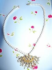 FAUX PEARL SINGLE STRAND NECKLACE WITH CRYSTAL SET FAN SHAPED ENHANCER 551-4