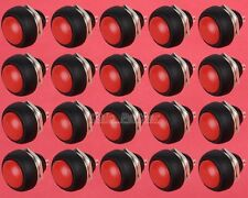 20pcs Red 12mm Waterproof Lockless momentary Push button Mini Round Switch 250V