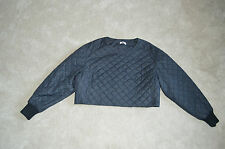 Acne Studios Navy Blue Crop Suzette Quilted Jumper Jacket Womens EU 36 UK 8