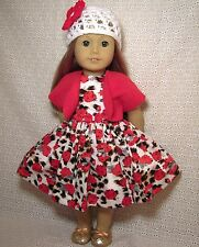 "Doll Clothes Red Roses Flower Dress Shrug HAT 3PC fits American Girl18""*p2"