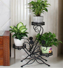 3 TIER Black Wrought Iron Floor-Standing Pot Plant Stand Balcony Flower Planter