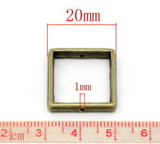10pcs 20mm x 20mm bronze tone square bead frames jewellery making findings