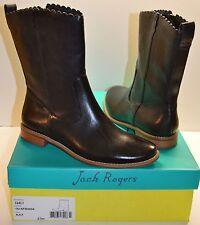 New $228 Jack Rogers Carly Black Flat Mid Calf Leather Boot sz 6.5