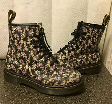 Dr Doc Martens Floral Black Leather Boots 1460 Mini Tydee Women Sz 6 EUC