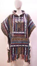 BOHO HIPPIE REVERSIBLE HOODED POCKET NOMAD AZTEC STRIPED PONCHO FREESIZE PURPLE