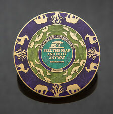 2T Gold: Purple/Green Courageous Lion Geocoin - Geocaching 40 MADE