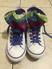 CONVERSE ALL-STAR WHITE HIGH SNEAKERS  MULTI COLOR TONGUE GIRLS US4 EU36