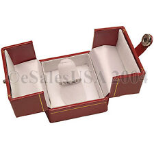 Jewelry Ring Red Box Finger 2 Door Leatherette Gift Engagement Wedding Case