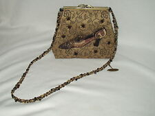 MARY FRANCES Shoe Theme Beaded kiss lock Shoulder purse w/ dust bag Philippines