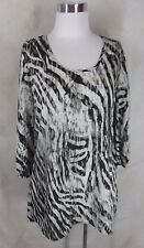 New Cable & Gauge Tunic Top Small Black White Animal Print Split Sleeve