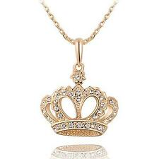 Womens Crown Type Rhinestone Gold Plated Pendant Sweater Chain Clavicle Necklace